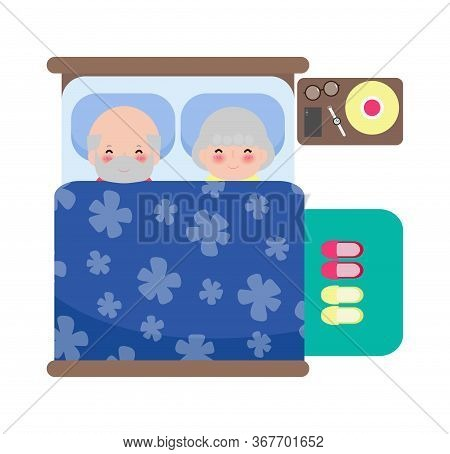 Senior Couple Sleeping In Bed, Adult Old Man And Old Woman Sleep In Bed, Old People Healthy Dream Sl
