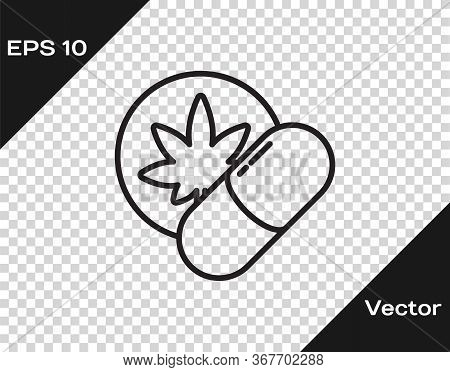 Black Line Herbal Ecstasy Tablets Icon Isolated On Transparent Background. Vector