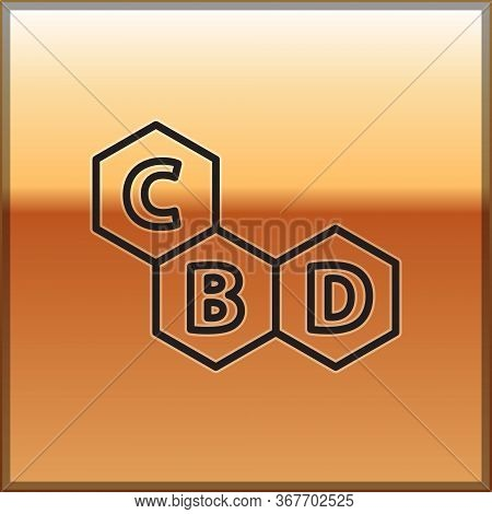 Black Line Cannabis Molecule Icon Isolated On Gold Background. Cannabidiol Molecular Structures, Thc
