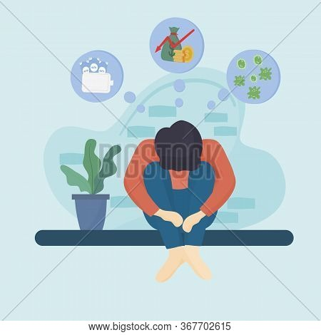 Concept Of The Effects Of The Coronavirus Or Covid - 19, Young Man Is Stressed From Unemployment By