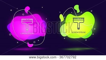 Line Cleaning Service With Of Rubber Cleaner For Windows Icon Isolated On Black Background. Squeegee