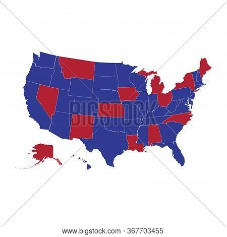 Blue And Red Us States. United States Vector Map, Map Of The Usa, All States Separately. Who Votes F