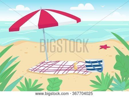 Blanket And Sun Umbrella On Sand Beach Flat Color Vector Illustration. Towel, Bag And Sunscreen Bott