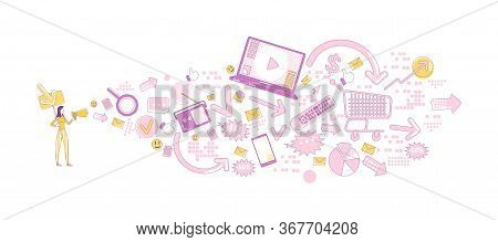 Advertising Business Thin Line Concept Vector Illustration. Promoter With Megaphone 2d Cartoon Chara