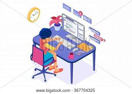 Software Engineer Developing Program. Woman Sits At Computer Table And Programs. Developer Creating