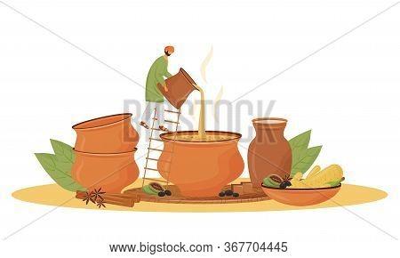 Indian Cuisine, Teashop Service Flat Concept Vector Illustration. Man Pouring Masala Chai 2d Cartoon