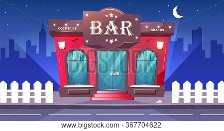 Bar At Nighttime Flat Color Vector Illustration. Local Cafe With Sidewalk At Night. Luxury Pub Exter