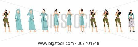 Female Morning Routine Flat Color Vector Characters Set. Face, Body And Hair Spa Procedures Isolated