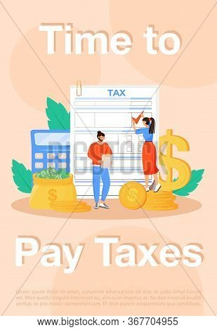 Time To Pay Taxes Poster Flat Vector Template. Utility Bills Payment, Taxation Brochure Booklet One