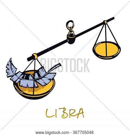 Libra Zodiac Sign Flat Cartoon Vector Illustration. Celestial Justice Scales Object. Astrological Ho