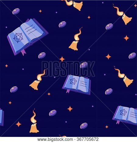 Halloween Seamless Pattern With Books, Candles And Gems. Witch Book With Candles. Witch Seamless Pat