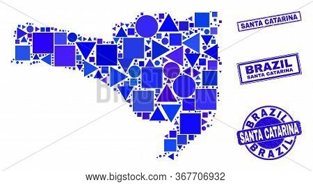 Vector Mosaic Santa Catarina State Map. Geographic Scheme In Blue Color Tints, And Unclean Round And