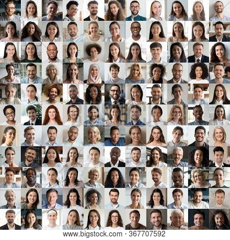 Lot Of Happy Multiracial People Faces Headshots In Square Collage