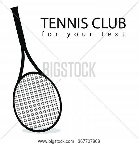 Tennis Racket Close-up. Sport Cover With Place For Text. Tennis Racket Black Outline Isolated. Vecto