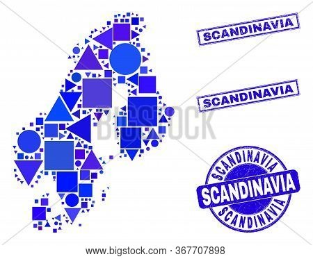 Vector Mosaic Scandinavia Map. Geographic Collage In Blue Color Tints, And Unclean Round And Rectang