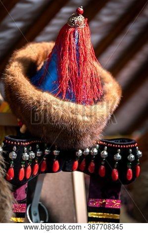 Naryn-atsagat Zone, Near Oulan Oude (ulan Ude), Siberia, Russia - Mars 09, 2020 : Traditional Hat Of