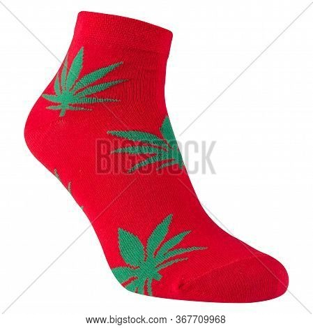 Voluminous Red Sock With Green Leaves Of Cannabis, On A White Background