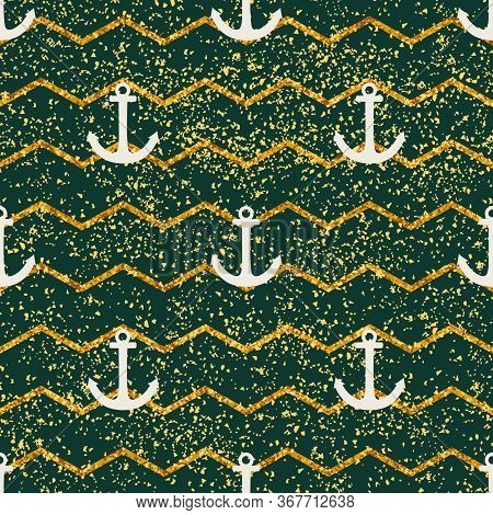 Tile Sailor Vector Pattern With Green And Gold Stripes, Golden Dust And White Anchor For Seamless De
