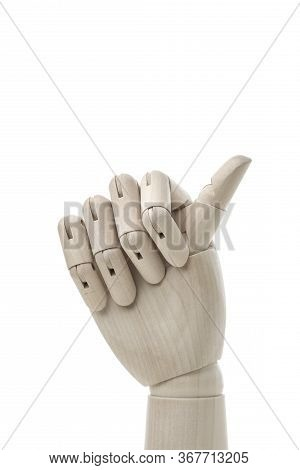 Business And Design Concept - Mannequin Hand On White Background