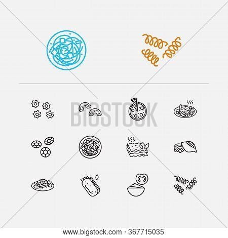 Cuisine Icons Set. Riccioli Pasta Shape And Cuisine Icons With Pizza, Stelle Pasta Shape And Brusche