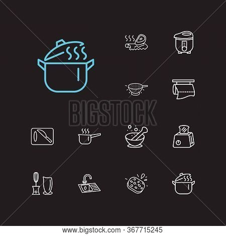 Kitchenware Icons Set. Cutting Board And Kitchenware Icons With Sink, Pot And Sauce Pan. Set Of Scro