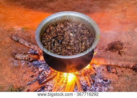 Cooking Meat Curry.mutton Curry Cooking In Village.fried Mutton