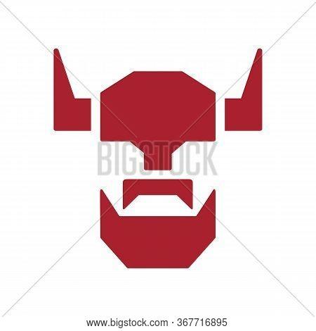 Viking Head With Helmet Logo Icon Design Template, Bearded Barbarian Symbol