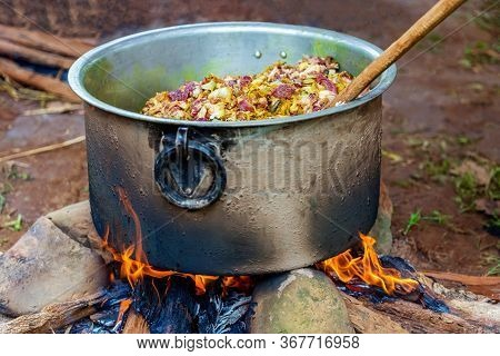 Cooking Meat Curry.mutton Curry Cooking In Village