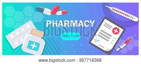 Pharmacy background, pharmacy design, pharmacy templates. Medicine, pharmacy, hospital set of drugs with labels. Medication, pharmaceutics concept. Different medical. Medicine vector illustration. Pharmacy background, pharmacy desing, pharmacy templates.