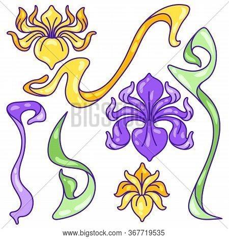 Set Of Iris Flowers. Art Nouveau Vintage Style. Natural Decorative Plants.