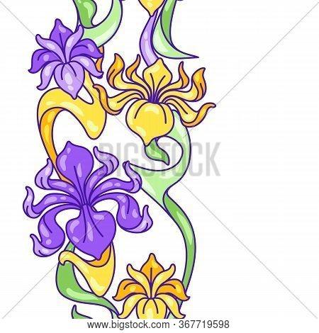 Seamless Pattern With Iris Flowers. Art Nouveau Vintage Style. Natural Decorative Plants.