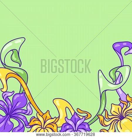 Background With Iris Flowers. Art Nouveau Vintage Style. Natural Decorative Plants.