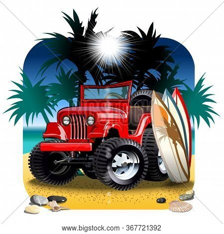 Vector Cartoon 4x4 Car On Beach. Available Eps-10 Vector Format Separated By Groups With Transparenc