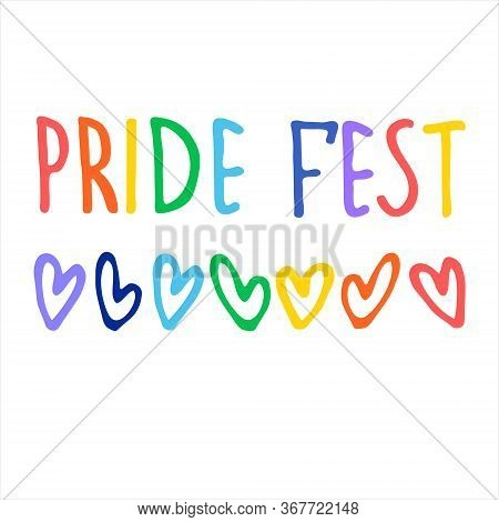 Sexual Diversity Celebrations Logo. Hand Lettering In Rainbow Colors And Rainbow-colored Hearts. Sex