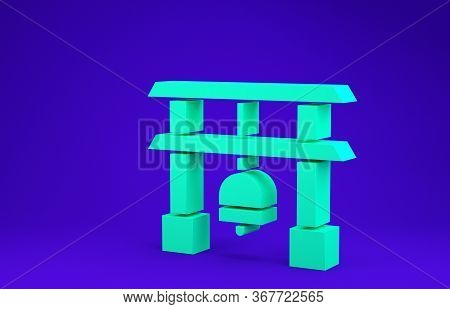 Green Japan Gate Icon Isolated On Blue Background. Torii Gate Sign. Japanese Traditional Classic Gat