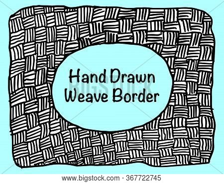 A Grungy Hand Drawn Weave Pattern Background Template With Space For Your Text.