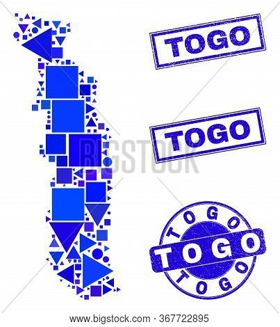 Vector Mosaic Togo Map. Geographic Collage In Blue Color Tints, And Textured Round And Rectangle Sea