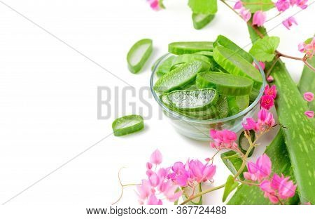 Slice Aloe Vera In Glass With Pink  Creeper.the Benefits Of Aloe Vera Are Digestive Help, Treating S