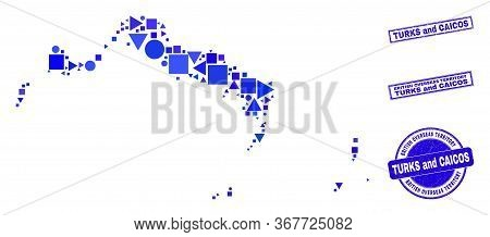 Vector Mosaic Turks And Caicos Islands Map. Geographic Collage In Blue Color Hues, And Unclean Round