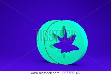 Green Herbal Ecstasy Tablets Icon Isolated On Blue Background.  3d Illustration 3d Render