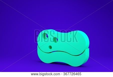 Green Sponge Icon Isolated On Blue Background. Wisp Of Bast For Washing Dishes. Cleaning Service Con