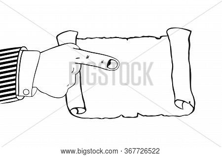 Icon Of Human Hand Indicates To Empty Parchment, Scroll. Pointing Finger. Blank Sheet White Paper Wi