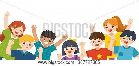 Group Of Multicultural Happy Kids Joyfully Jumping And Waving Hands On White Background. Cheerful El
