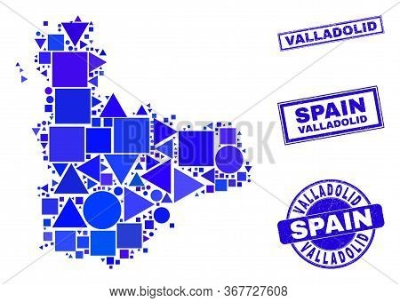 Vector Mosaic Valladolid Province Map. Geographic Plan In Blue Color Hues, And Textured Round And Re