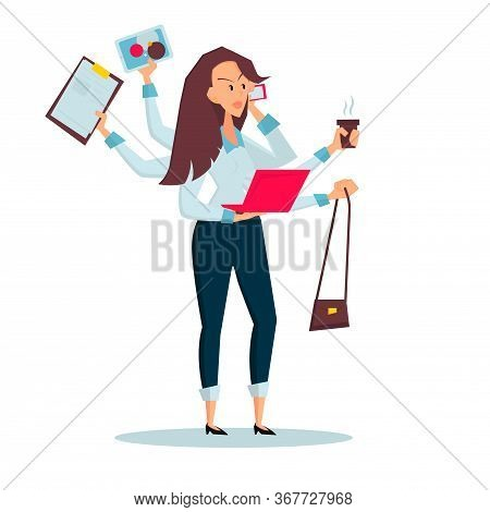 Woman Freelancer Does Several Things At Once Time. She Manages To Hold Bag, Drink Coffee, Talk On Th