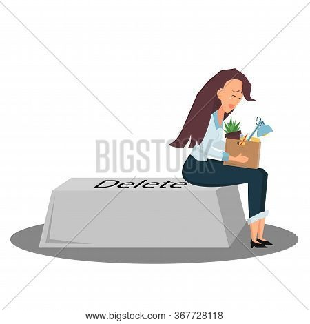 Businesswoman Is Upset Sitting On A Keyboard Button Delete With Box Of Stuff. Side View. She Is Fire