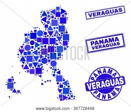 Vector Mosaic Veraguas Province Map. Geographic Collage In Blue Color Tints, And Grunge Round And Re