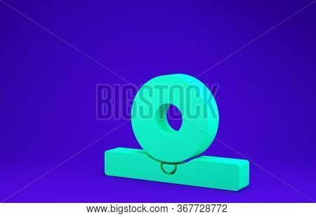 Green Otolaryngological Head Reflector Icon Isolated On Blue Background. Equipment For Inspection Th