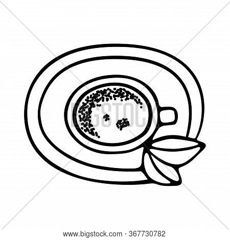 Large Mug Of Coffee Or Cocoa On A Saucer Hand-drawn. Vector Doodle Illustration Black Outline On A W