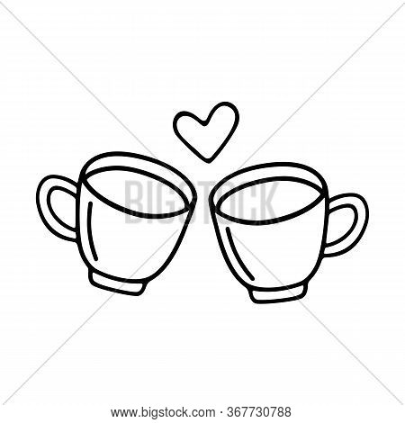 Two Large Mug Of Coffee Or Cocoa Hand-drawn For Lovers. Vector Doodle Illustration Black Outline On